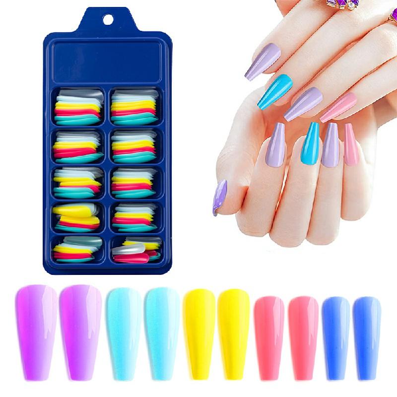 Long Fake Nails Acrylic Artificial False Nail Tips Stick on Full Nail 100 pcs - Combination B