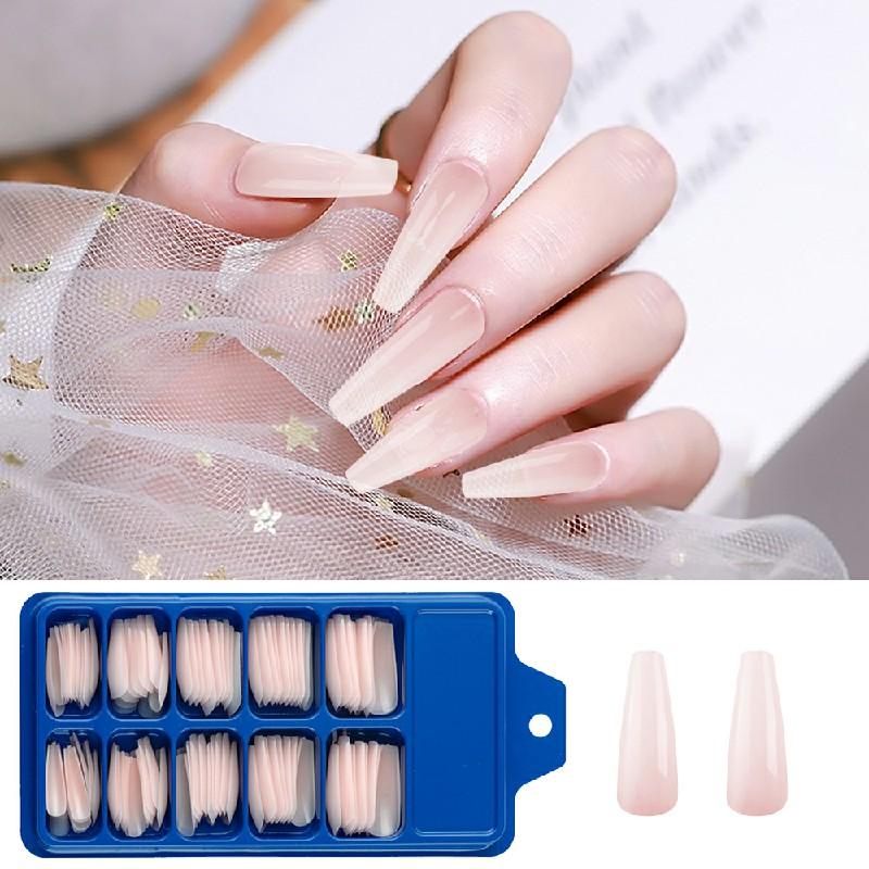 Long Fake Nails Acrylic Artificial False Nail Tips Stick on Full Nail 100 pcs - Pink