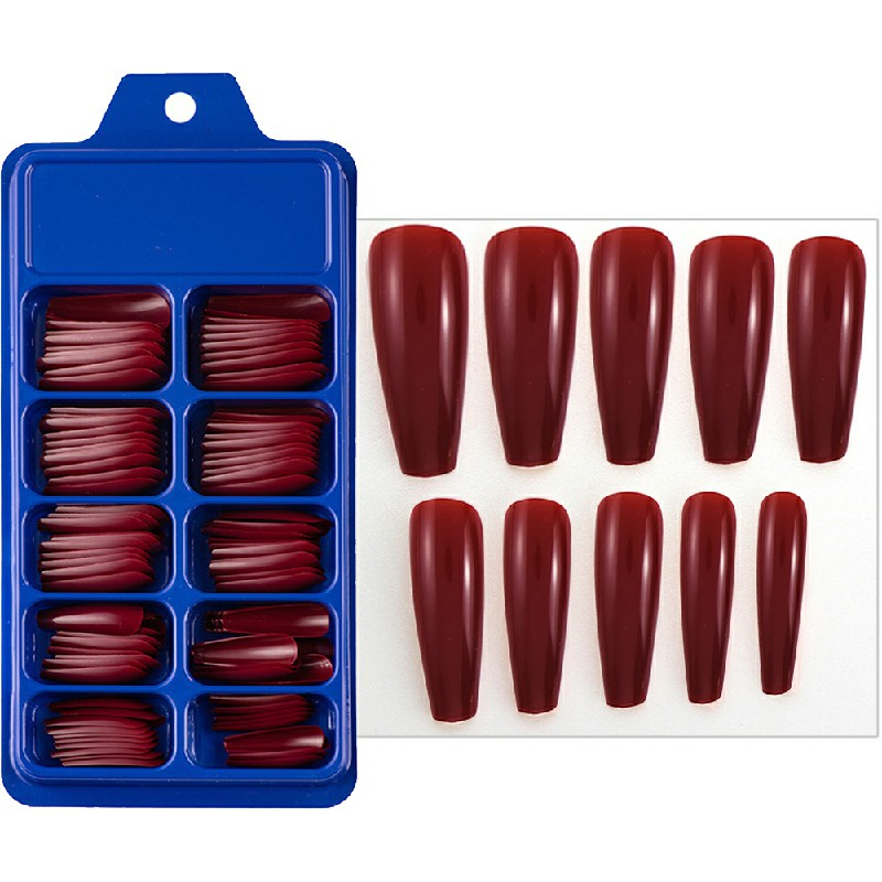 Long Fake Nails Acrylic Artificial False Nail Tips Stick on Full Nail 100 pcs - Red