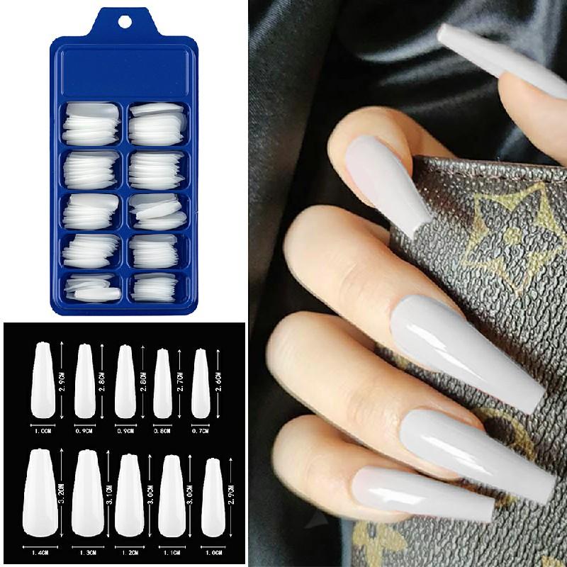 Long Fake Nails Acrylic Artificial False Nail Tips Stick on Full Nail 100 pcs - White