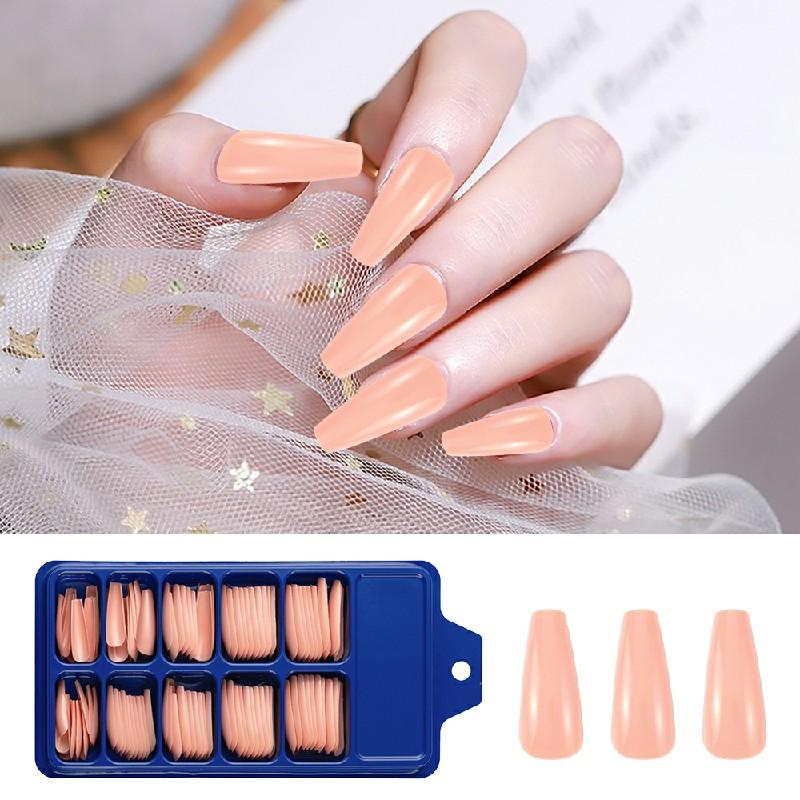 Long Fake Nails Acrylic Artificial False Nail Tips Stick on Full Nail 100 pcs - Nude Pink