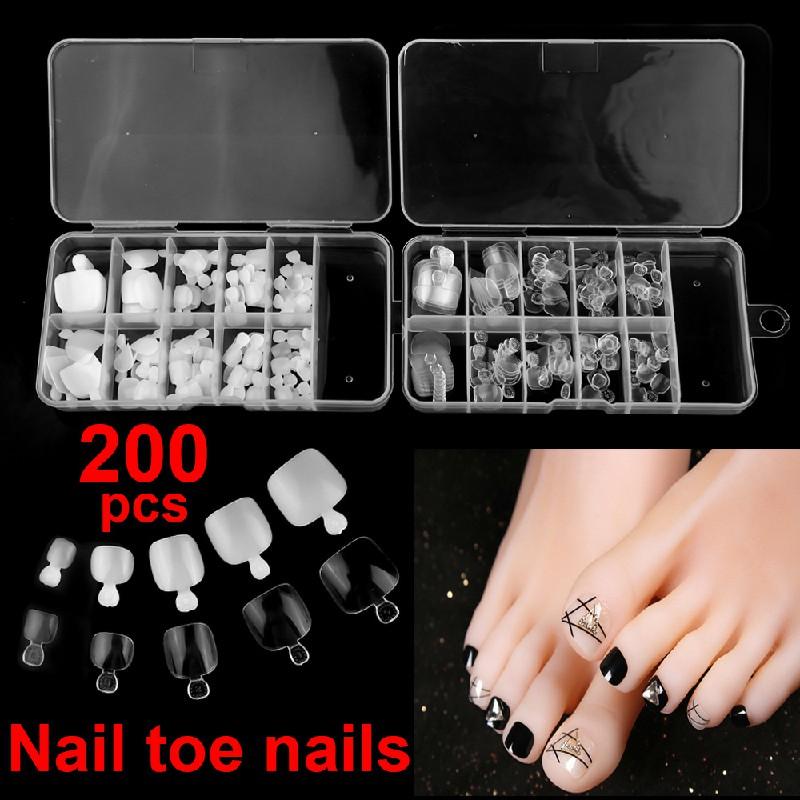 100 pcs False Toe Nails Nail Art Full Coverage Tips Clear Natural Extension - Clear