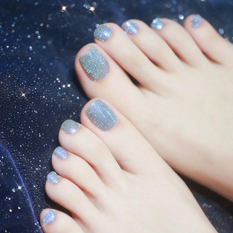 100 pcs False Toe Nails Nail Art Full Coverage Tips Clear Natural Extension - Natural