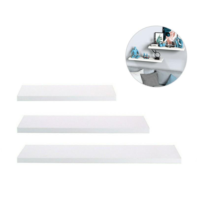 Large Set of 3 Floating Wall Shelves Storage Display Shelf Black 30/40/50CM - White