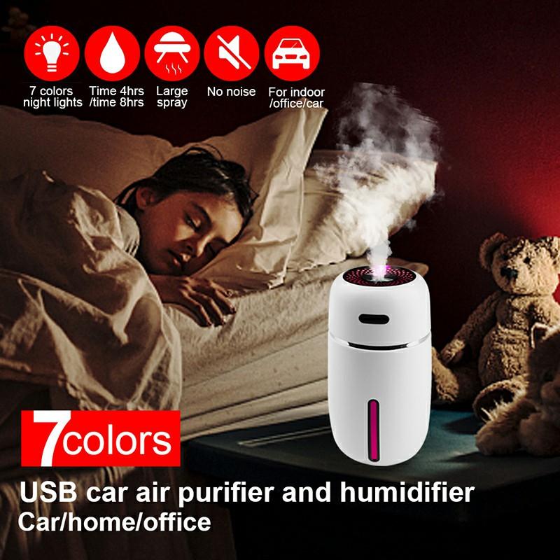 Mini Ultrasonic Aroma Diffuser USB Car LED Air Purifier Essential Oil Humidifier - White