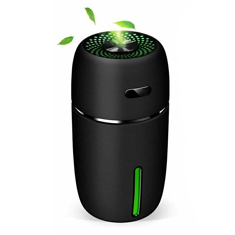 Mini Ultrasonic Aroma Diffuser USB Car LED Air Purifier Essential Oil Humidifier - Black
