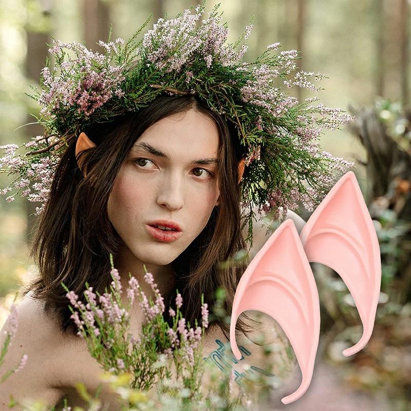 1 Pair Elf Ears Rubber Latex Prosthetic Tips Angel Pixie Fairy Cosplay Party 10 cm - Light Skin