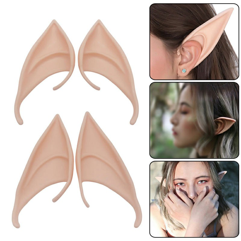 1 Pair Elf Ears Rubber Latex Prosthetic Tips Angel Pixie Fairy Cosplay Party 10 cm - Dark Skin
