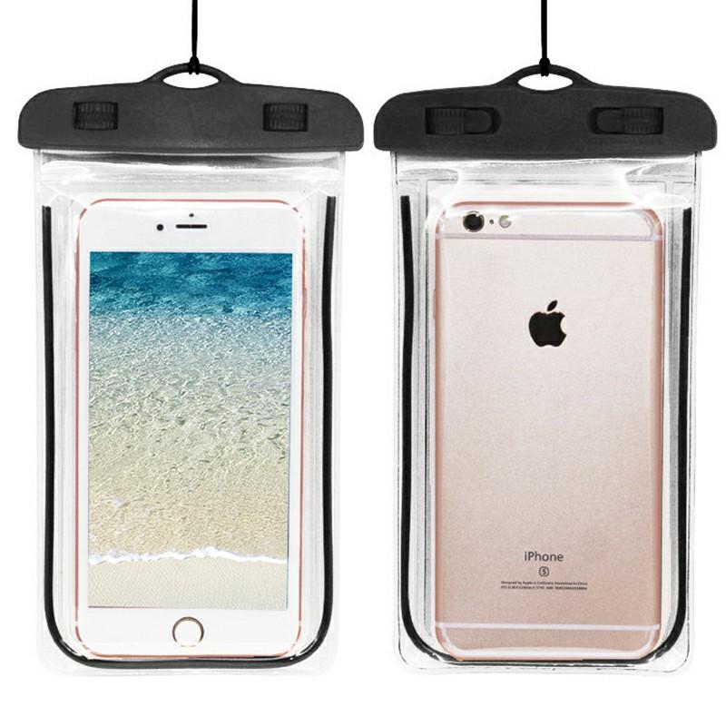 Waterproof Phone Case Dry Bag Glowing Underwater Phone Pouch for Smartphones - Black