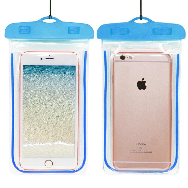 Waterproof Phone Case Dry Bag Glowing Underwater Phone Pouch for Smartphones - Blue