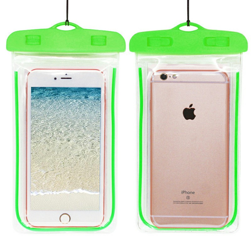 Waterproof Phone Case Dry Bag Glowing Underwater Phone Pouch for Smartphones - Green