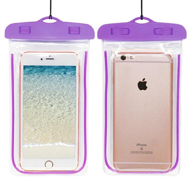 Waterproof Phone Case Dry Bag Glowing Underwater Phone Pouch for Smartphones - Purple