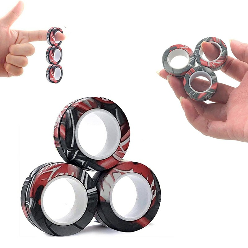 Magnetic Bracelet Ring Unzip Magical Ring Props Tools Decompression products Anti-Stress - Black Camouflage