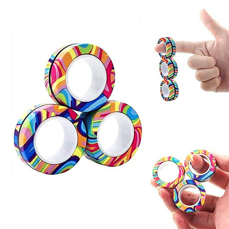 Magnetic Bracelet Ring Unzip Magical Ring Props Tools Decompression products Anti-Stress - Striped Camouflage