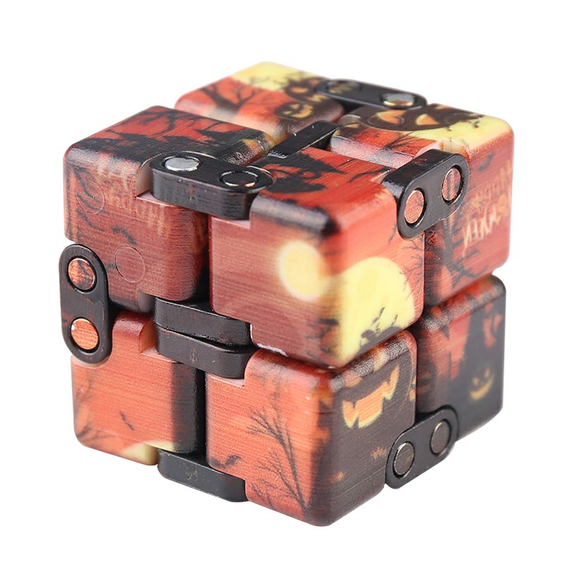 Sensory Infinity Cube Stress Fidget Product for Autism Anxiety Relief - Orange