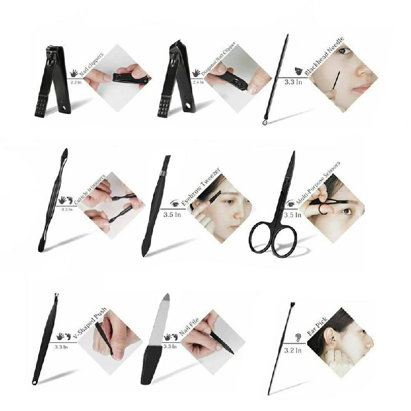9 pcs Nail Care Kit Cutter Set Clippers Manicure Pedicure Cuticle Tool Gift Set for Men Women