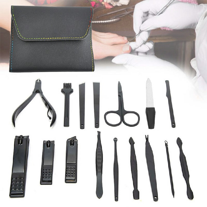 16 pcs Nail Care Cutter Set Clippers Manicure Pedicure Cuticle Tool Gift Kit