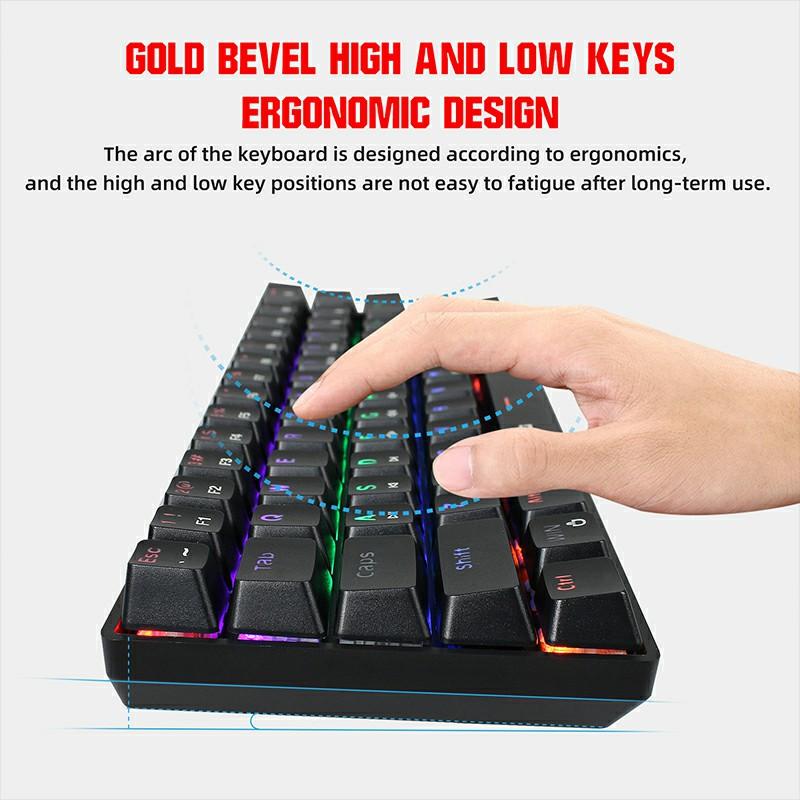 V900 61 Keys Punk keycap RGB Lighting Effect Metal Panel Mechanical Keyboard - Black