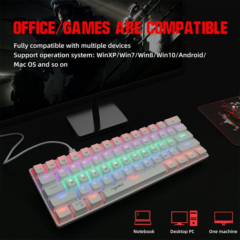 V900 61 Keys Punk keycap RGB Lighting Effect Metal Panel Mechanical Keyboard - White