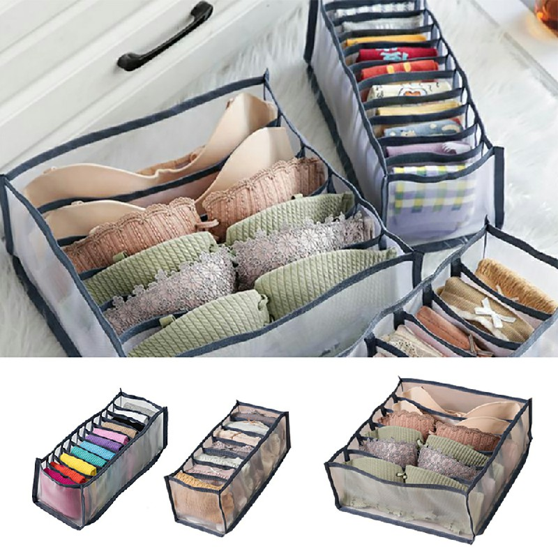 3 pcs Underwear Bra Socks Ties Drawer Organizer Storage Box Divider Tidy Wardrobe - Grey