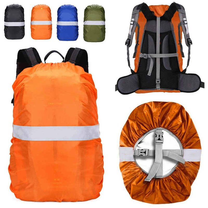 Outdoor Reflective Function Waterproof Dustproof Backpack Rain Cover Shoulder Bag Cover Orange - M